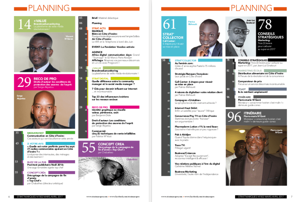 Sommaire Stratmarques Magazine (Planning)